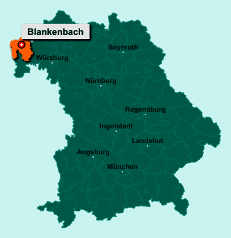 Die Karte von Blankenbach zeigt die Lage im Landkreis Aschaffenburg - Der Ort 63825 Blankenbach liegt im Bundesland Bayern