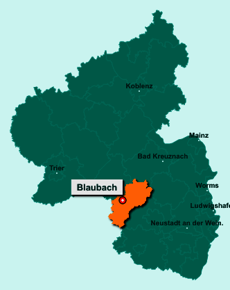 Die Karte von Blaubach zeigt die Lage im Landkreis Kusel - Der Ort 66869 Blaubach liegt im Bundesland Rheinland-Pfalz