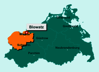 Die Karte von Blowatz zeigt die Lage im Landkreis Nordwestmecklenburg - Der Ort 23974 Blowatz liegt im Bundesland Mecklenburg-Vorpommern