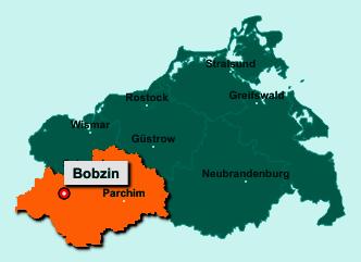 Der Lageplan von 19230 Bobzin zeigt die Position im Landkreis Ludwigslust-Parchim - Der Ort liegt im Bundesland Mecklenburg-Vorpommern