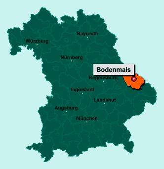 Die Karte von Bodenmais zeigt die Lage im Landkreis Regen - Der Ort 94249 Bodenmais liegt im Bundesland Bayern