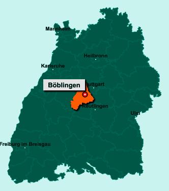 Der Lageplan von Böblingen zeigt die Position im Landkreis Böblingen - Der Ort liegt im Bundesland Baden-Württemberg