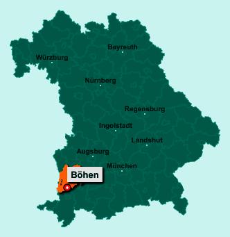 Die Karte von Böhen zeigt die Lage im Landkreis Unterallgäu - Der Ort 87736 Böhen liegt im Bundesland Bayern