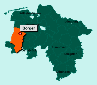 Die Karte von Börger zeigt die Lage im Landkreis Emsland - Der Ort 26904 Börger liegt im Bundesland Niedersachsen