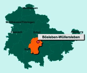 Die Karte von Bösleben-Wüllersleben zeigt die Lage im Ilm-Kreis - Der Ort 99310 Bösleben-Wüllersleben liegt im Bundesland Thüringen