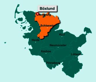 Die Karte von Böxlund zeigt die Lage im Kreis Schleswig-Flensburg - Der Ort 24994 Böxlund liegt im Bundesland Schleswig-Holstein