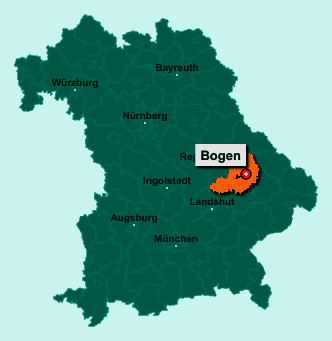 Die Karte von Bogen zeigt die Lage im Landkreis Straubing-Bogen - Der Ort 94327 Bogen liegt im Bundesland Bayern
