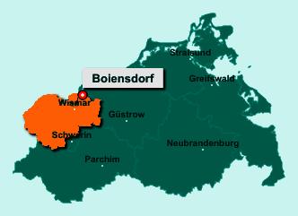 Die Karte von Boiensdorf zeigt die Lage im Landkreis Nordwestmecklenburg - Der Ort 23974 Boiensdorf liegt im Bundesland Mecklenburg-Vorpommern