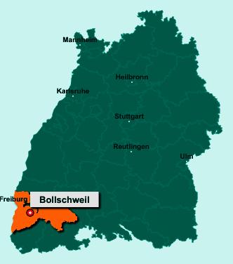 Die Karte von Bollschweil zeigt die Lage im Landkreis Breisgau-Hochschwarzwald - Der Ort 79283 Bollschweil liegt im Bundesland Baden-Württemberg