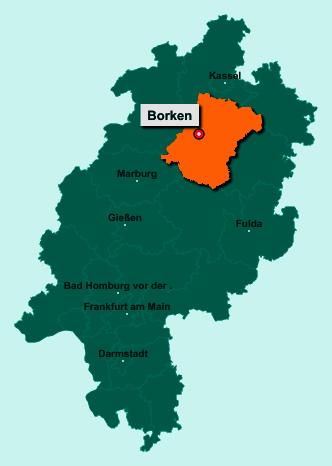 Der Lageplan von 34582 Borken zeigt die Position im Schwalm-Eder-Kreis - Der Ort liegt im Bundesland Hessen