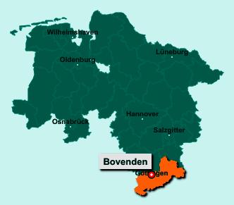 Die Karte von Bovenden zeigt die Lage im Landkreis Göttingen - Der Ort 37120 Bovenden liegt im Bundesland Niedersachsen