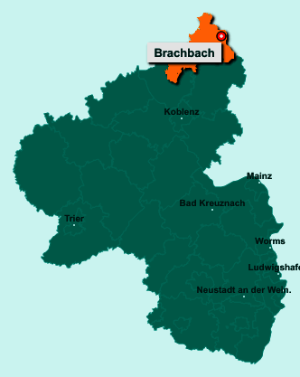 Die Karte von Brachbach zeigt die Lage im Landkreis Altenkirchen - Der Ort 57555 Brachbach liegt im Bundesland Rheinland-Pfalz