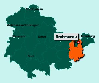 Die Karte von Brahmenau zeigt die Lage im Landkreis Greiz - Der Ort 07554 Brahmenau liegt im Bundesland Thüringen