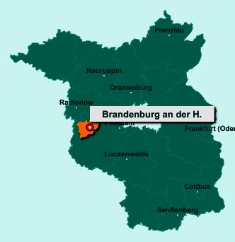 Der Lageplan von Brandenburg an der Havel zeigt die Position im Bundesland Brandenburg - Dieser Ort ist eine kreisfreie Stadt