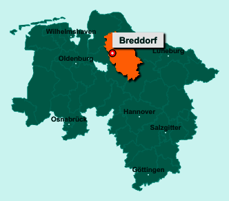 Die Karte von Breddorf zeigt die Lage im Landkreis Rotenburg (Wümme) - Der Ort Breddorf liegt im Bundesland Niedersachsen