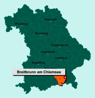 Die Karte von Breitbrunn am Chiemsee zeigt die Lage im Landkreis Rosenheim - Der Ort 83254 Breitbrunn am Chiemsee liegt im Bundesland Bayern