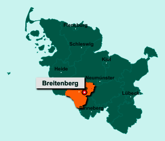 Die Karte von Breitenberg zeigt die Lage im Kreis Steinburg - Der Ort 25597 Breitenberg liegt im Bundesland Schleswig-Holstein