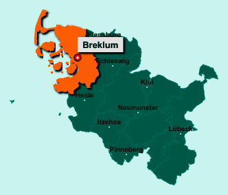 Die Karte von Breklum zeigt die Lage im Kreis Nordfriesland - Der Ort 25821 Breklum liegt im Bundesland Schleswig-Holstein