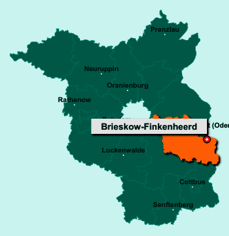 Die Karte von Brieskow-Finkenheerd zeigt die Lage im Landkreis Oder-Spree - Der Ort 15295 Brieskow-Finkenheerd liegt im Bundesland Brandenburg