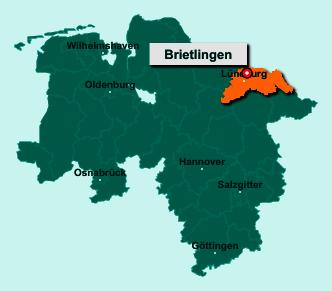 Der Lageplan von 21382 Brietlingen zeigt die Position im Landkreis Lüneburg - Der Ort liegt im Bundesland Niedersachsen