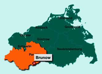 Die Karte von Brunow zeigt die Lage im Landkreis Ludwigslust-Parchim - Der Ort Brunow liegt im Bundesland Mecklenburg-Vorpommern