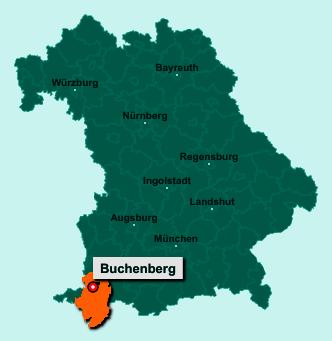 Die Karte von Buchenberg zeigt die Lage im Landkreis Oberallgäu - Der Ort 87474 Buchenberg liegt im Bundesland Bayern