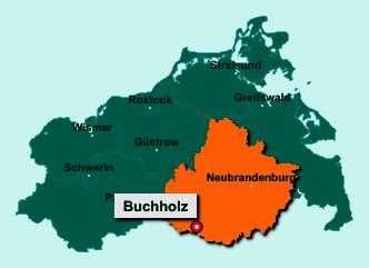 Der Lageplan von 17209 Buchholz zeigt die Position im Landkreis Mecklenburgische Seenplatte - Der Ort liegt im Bundesland Mecklenburg-Vorpommern