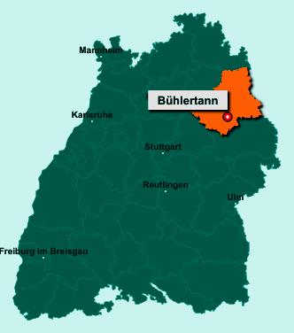 Der Lageplan von 74424 Bühlertann zeigt die Position im Landkreis Schwäbisch Hall - Der Ort liegt im Bundesland Baden-Württemberg