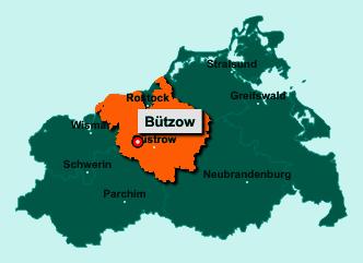 Der Lageplan von 18246 Bützow zeigt die Position im Landkreis Rostock - Der Ort liegt im Bundesland Mecklenburg-Vorpommern