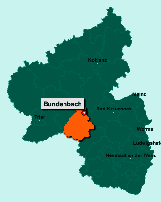Der Lageplan von 55626 Bundenbach zeigt die Position im Landkreis Birkenfeld - Der Ort liegt im Bundesland Rheinland-Pfalz