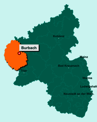 Die Karte von Burbach zeigt die Lage im Eifelkreis Bitburg-Prüm - Der Ort 54597 Burbach liegt im Bundesland Rheinland-Pfalz