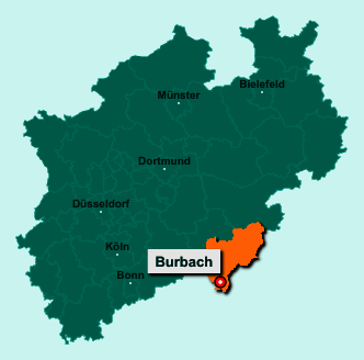 Die Karte von Burbach zeigt die Lage im Kreis Siegen-Wittgenstein - Der Ort 57299 Burbach liegt im Bundesland Nordrhein-Westfalen