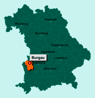 Die Karte von Burgau zeigt die Lage im Landkreis Günzburg - Der Ort 89331 Burgau liegt im Bundesland Bayern