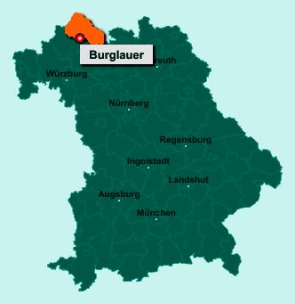 Die Karte von Burglauer zeigt die Lage im Landkreis Rhön-Grabfeld - Der Ort 97724 Burglauer liegt im Bundesland Bayern