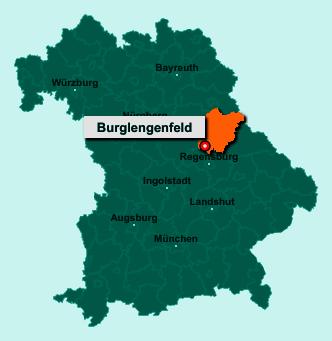 Standort 93133 Burglengenfeld auf der Bundeslandkarte von Bayern