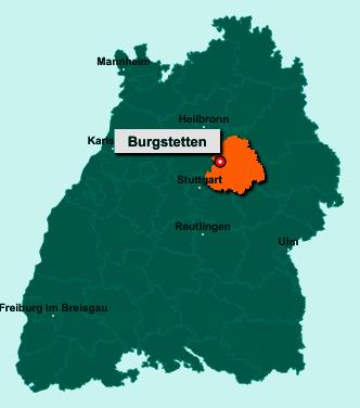Die Karte von Burgstetten zeigt die Lage im Rems-Murr-Kreis - Der Ort 71576 Burgstetten liegt im Bundesland Baden-Württemberg