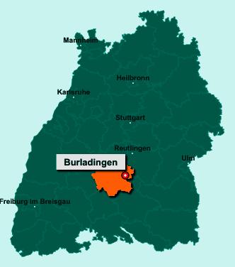 Die Karte von Burladingen zeigt die Lage im Zollernalbkreis - Der Ort 72393 Burladingen liegt im Bundesland Baden-Württemberg