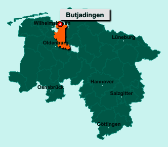 Der Lageplan von 26969 Butjadingen zeigt die Position im Landkreis Wesermarsch - Der Ort liegt im Bundesland Niedersachsen