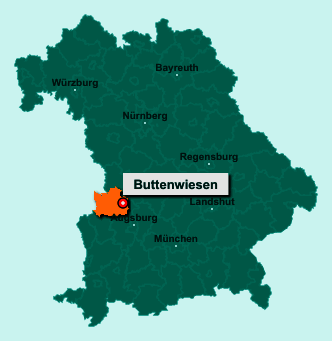 Die Karte von Buttenwiesen zeigt die Lage im Landkreis Dillingen an der Donau - Der Ort 86647 Buttenwiesen liegt im Bundesland Bayern