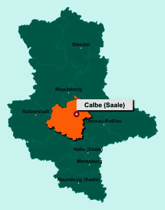 Der Lageplan von 39240 Calbe (Saale) zeigt die Position im Salzlandkreis - Der Ort liegt im Bundesland Sachsen-Anhalt