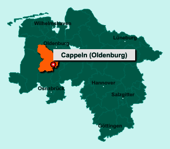 Der Lageplan von 49692 Cappeln (Oldenburg) zeigt die Position im Landkreis Cloppenburg - Der Ort liegt im Bundesland Niedersachsen