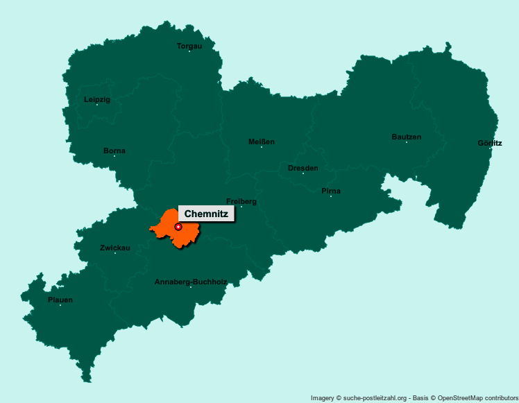 Chemnitz Karte.Postleitzahl Chemnitz