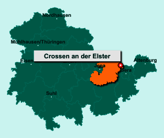 Der Lageplan von 07613 Crossen an der Elster zeigt die Position im Saale-Holzland-Kreis - Der Ort liegt im Bundesland Thüringen