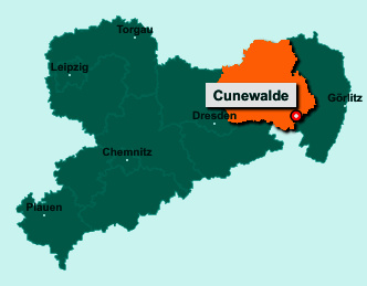 Standort 02733 Cunewalde auf der Bundeslandkarte von Sachsen