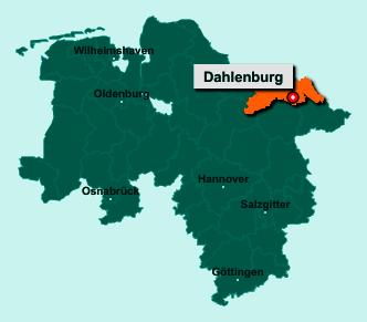 Der Lageplan von 21368 Dahlenburg zeigt die Position im Landkreis Lüneburg - Der Ort liegt im Bundesland Niedersachsen