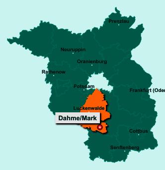 Die Karte von Dahme/Mark zeigt die Lage im Landkreis Teltow-Fläming - Der Ort 15936 Dahme/Mark liegt im Bundesland Brandenburg