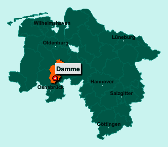 Der Lageplan von 49401 Damme zeigt die Position im Landkreis Vechta - Der Ort liegt im Bundesland Niedersachsen
