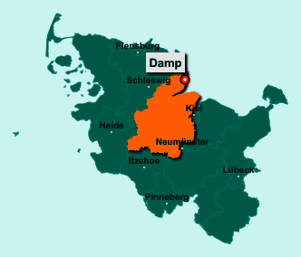 Die Karte von Damp zeigt die Lage im Kreis Rendsburg-Eckernförde - Der Ort 24351 Damp liegt im Bundesland Schleswig-Holstein