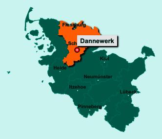 Die Karte von Dannewerk zeigt die Lage im Kreis Schleswig-Flensburg - Der Ort 24867 Dannewerk liegt im Bundesland Schleswig-Holstein