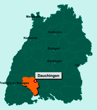 Der Lageplan von 78083 Dauchingen zeigt die Position im Schwarzwald-Baar-Kreis - Der Ort liegt im Bundesland Baden-Württemberg